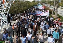 حضور پرشور و گسترده مردم کیش در راهپیمایی روز جهانی قدس + تصاویر